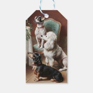 Étiquette vintage de Noël, chiens à Noël