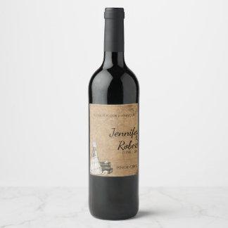 Étiquette vintage de vin de mariage de jeune