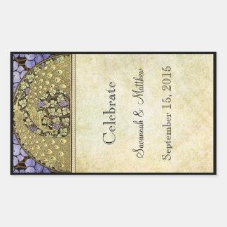 Étiquette vintage de vin de mariage de paon