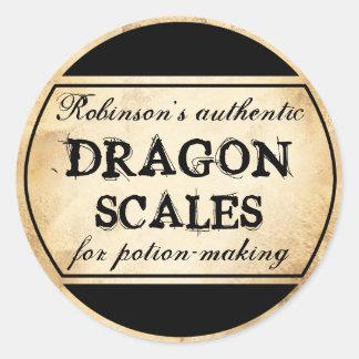 Étiquette vintage d'échelles de dragon