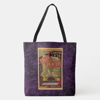 Étiquette vintage mauve-foncé sac