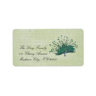 Étiquette vintage peint de paon étiquette d'adresse