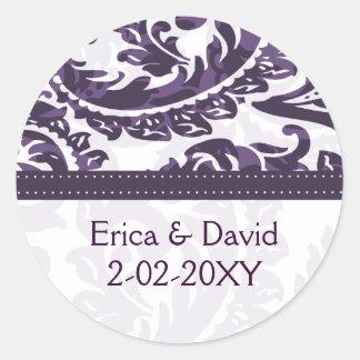 étiquette violet de monogramme autocollant rond