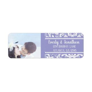 Étiquette Votre damassé lilas vintage de mariage de photo