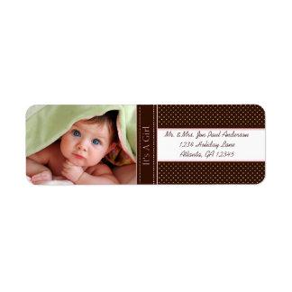 Étiquette Votre nouveau bébé de photo c'est une fille Brown