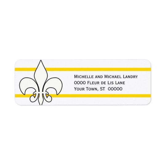 Étiquette White Fleur de Lis avec des rayures d'or