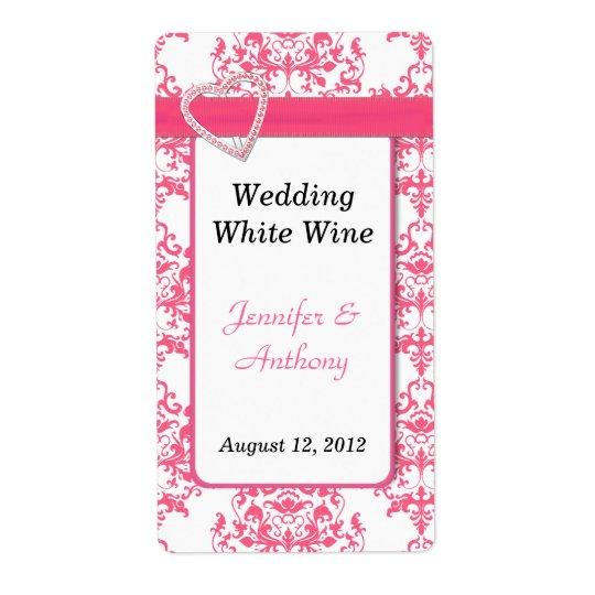 Étiquettes assez roses et blancs de vin de mariage