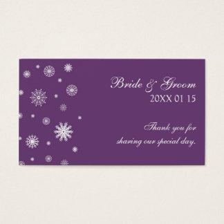 Étiquettes blanches de faveur de mariage d'hiver cartes de visite