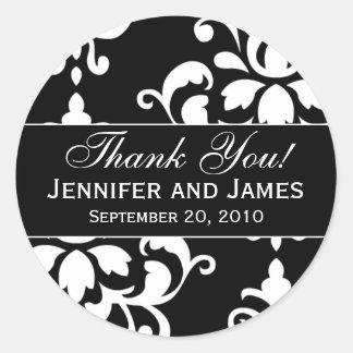 Étiquettes blancs noirs de Merci de mariage damass Autocollant Rond