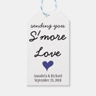 Étiquettes bleues de cadeau de mariage de coeur