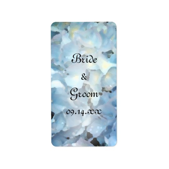 Étiquettes bleues de faveur de mariage d'hortensia
