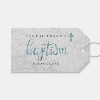 Étiquettes bleues de marbre modernes de baptême