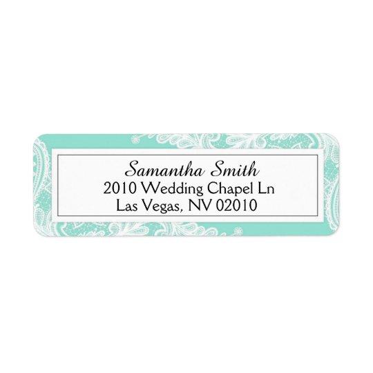 Étiquettes bleus et blancs de Tiffany de dentelle