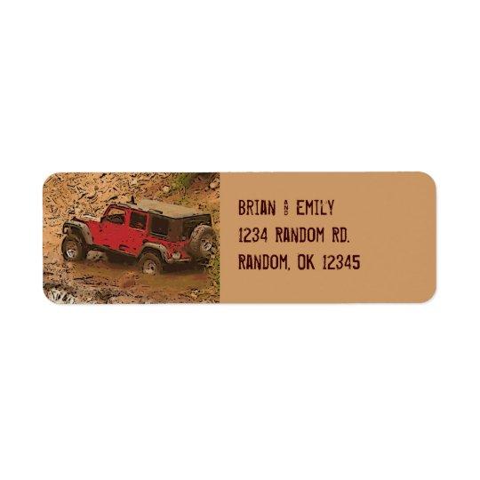 Étiquettes boueux rouges rocailleux de coutume de