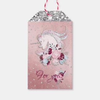 Étiquettes-cadeau Accents roses et argentés de jolie licorne