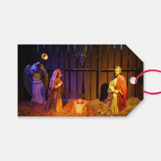 Étiquettes-cadeau Affichage de vacances de Noël de scène de nativité