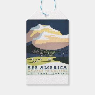 Étiquettes-cadeau Affiche vintage Montana Amérique Etats-Unis de