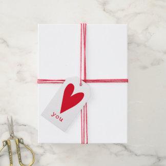 Étiquettes-cadeau Aimez-vous Saint-Valentin rouge de coeur de |