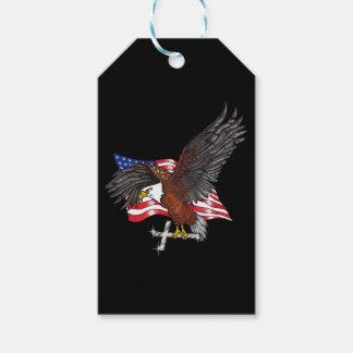 Étiquettes-cadeau Américain Eagle avec la croix