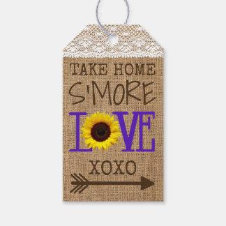 Étiquettes-cadeau Amour à emporter pourpre de S'More de toile de