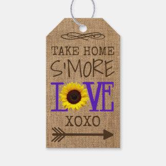 Étiquettes-cadeau Amour à emporter pourpre de S'More de tournesol et