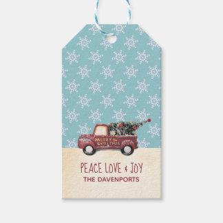 Étiquettes-cadeau Amour et joie de paix avec Noël de camion de