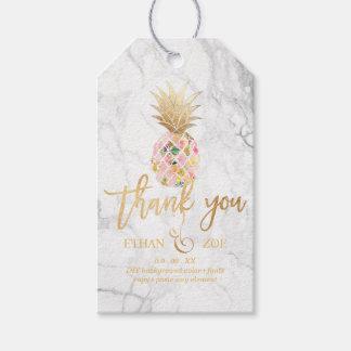 Étiquettes-cadeau Ananas de PixDezines Aloha/marbre
