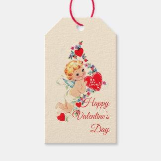 """Étiquettes-cadeau Ange vintage """"heureuse Sainte-Valentin"""""""
