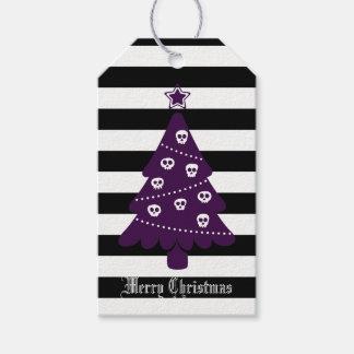 Étiquettes-cadeau Arbre de Noël gothique avec des rayures