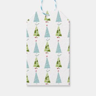 Étiquettes-cadeau Arbres minces de Noël bleu et vert