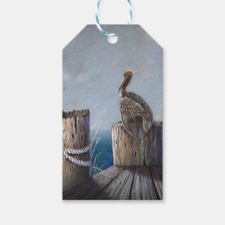 Étiquettes-cadeau Art acrylique d'océan de pélican de Brown de côte