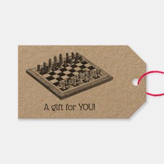Étiquettes-cadeau Art de cru d'échiquier et de pièces d'échecs