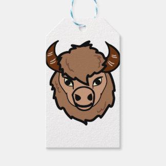 Étiquettes-cadeau art de visage de bison