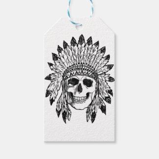 Étiquettes-cadeau Art indigène de visage de crâne