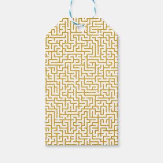 Étiquettes-cadeau Art moderne de labyrinthe élégant - or et blanc