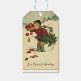 Étiquettes-cadeau Art vintage de Noël victorien rétro