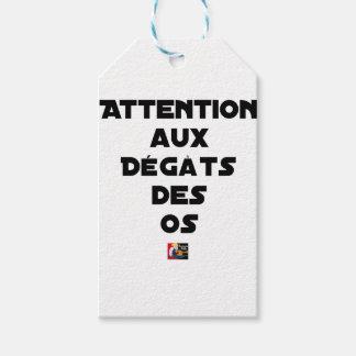 Étiquettes-cadeau ATTENTION AUX DÉGÂTS DES OS - Jeux de mots