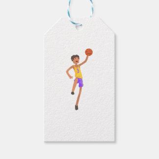 Étiquettes-cadeau Autocollant sautant d'action de joueur de basket