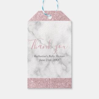 Étiquettes-cadeau Baby shower de marbre blanc de parties