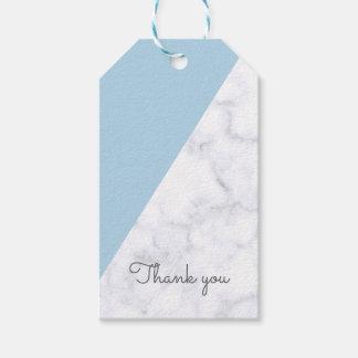 Étiquettes-cadeau Baby shower de marbre bleu et blanc en pastel