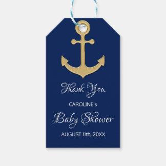 Étiquettes-cadeau BABY SHOWER nautique d'ancre de bleu marine de