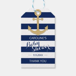 Étiquettes-cadeau Baby shower nautique personnalisé d'ancre de bleu