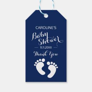 Étiquettes-cadeau Baby shower personnalisé de GARÇON de pieds de