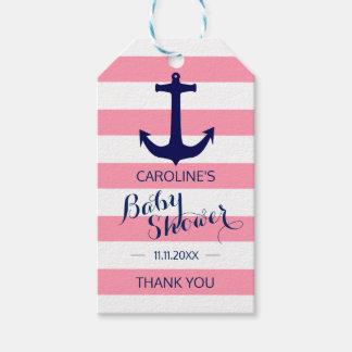 Étiquettes-cadeau Baby shower rose nautique personnalisé d'ancre