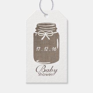 Étiquettes-cadeau Baby shower rustique de pot de maçon de toile de