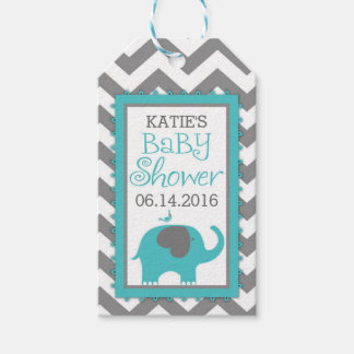 Étiquettes-cadeau Baby shower turquoise de Chevron d'oiseau de