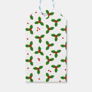 Étiquettes-cadeau Baies de houx - motif de Noël