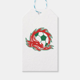 Étiquettes-cadeau Ballon de football de dragon de Gallois