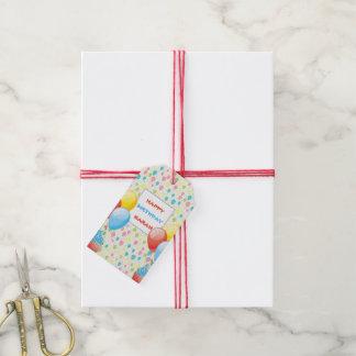 Étiquettes-cadeau Ballons colorés d'anniversaire