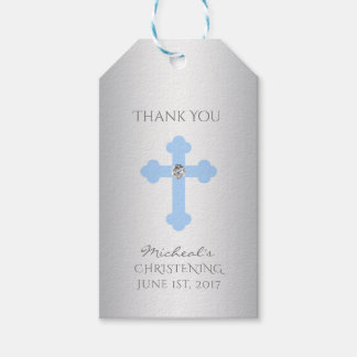 Étiquettes-cadeau Baptême élégant de croix de bleus layette/garçon